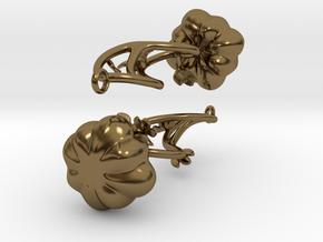 Fairytale Pumpkin Whimsy Earrings in Polished Bronze (Interlocking Parts)