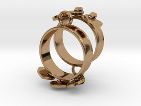 Heart Charm Earrings in Polished Brass (Interlocking Parts)