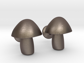 Mushroom Cufflinks in Stainless Steel
