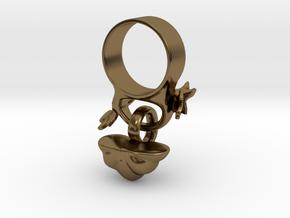 Fairytale Pumpkin Charm Ring in Polished Bronze (Interlocking Parts): 5 / 49