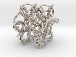 Knotted Hexagonal Earrings in Platinum
