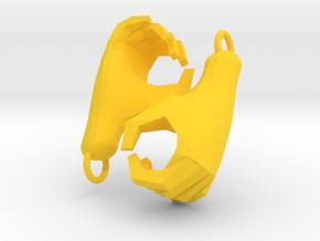 Hands Charm in Yellow Processed Versatile Plastic