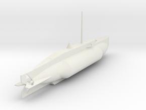 1/144 Scale UK WW2 Mini Sub X-5 in White Natural Versatile Plastic