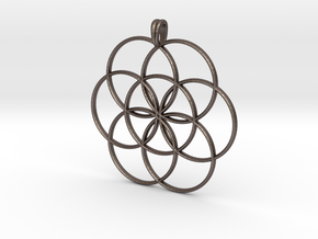 SEED OF LIFE Sacred Geometry Symbol Necklace in Polished Bronzed Silver Steel