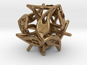Curlicue 12-Sided Dice in Raw Brass