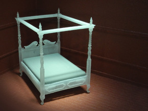 1:48 Four Poster Canopy Bed in Smooth Fine Detail Plastic
