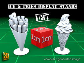 16 ICE & FRIES display stands (1:87) in Frosted Ultra Detail