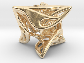 Curlicue 8-Sided Gaming Dice in 14k Gold Plated Brass