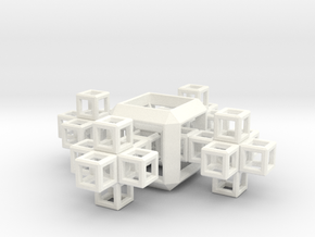 SCULPTURE COLLECTION 4 Crosses 1 HyperCube in White Processed Versatile Plastic