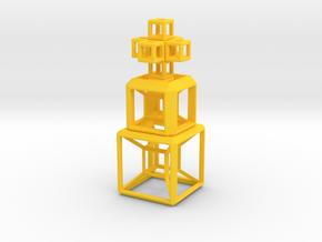 SCULPTURE COLLECTION 2 HyperCubes 1 Cross in Yellow Processed Versatile Plastic