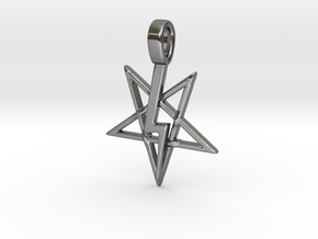 Pentagram Lightning Bolt  in Polished Silver