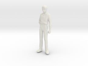 1/24 Modern Wear Curly Hair Man Standing 1.8 m  in White Natural Versatile Plastic
