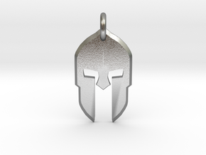 Spartan Helmet Pendant/Keychain in Natural Silver