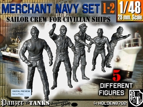 1-48 Merchant Navy Crew Set 1-2 in Smooth Fine Detail Plastic
