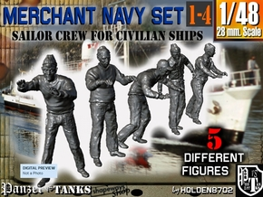 1-48 Merchant Navy Crew Set 1-4 in Smooth Fine Detail Plastic