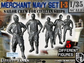 1-35 Merchant Navy Crew Set 1-3 in Smooth Fine Detail Plastic
