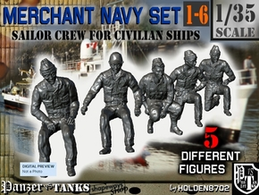 1-35 Merchant Navy Crew Set 1-6 in Smooth Fine Detail Plastic
