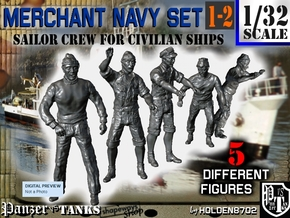 1-32 Merchant Navy Crew Set 1-2 in Smooth Fine Detail Plastic