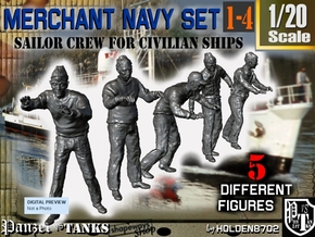1-20 Merchant Navy Crew Set 1-4 in White Natural Versatile Plastic