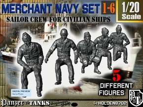 1-20 Merchant Navy Crew Set 1-6 in White Natural Versatile Plastic