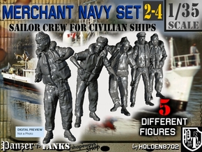 1-35 Merchant Navy Crew Set 2-4 in Smooth Fine Detail Plastic