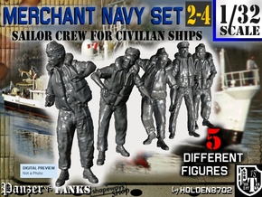 1-32 Merchant Navy Crew Set 2-4 in Smooth Fine Detail Plastic