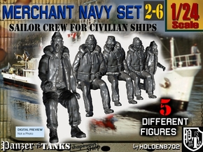 1-24 Merchant Navy Crew Set 2-6 in White Natural Versatile Plastic