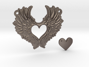 Heart With Wings in Polished Bronzed Silver Steel