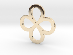 Dual Infinity Flower Coin in 14k Gold Plated Brass
