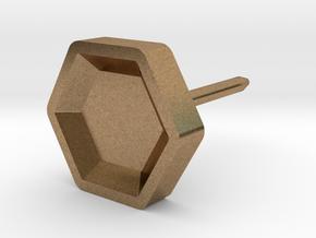 hexagon studs in Natural Brass