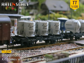 SET 3x Dzkr 501 Behälter (Tillig) (TT 1:120) in Smooth Fine Detail Plastic