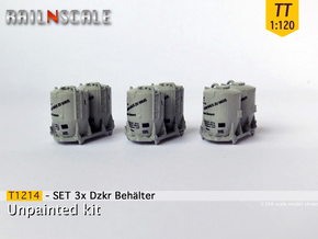 SET 3x Dzkr 501 Behälter (TT 1:120) in Smooth Fine Detail Plastic