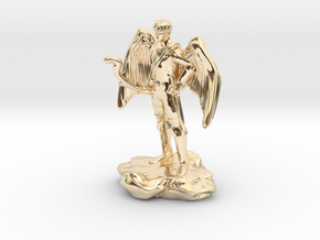 Winged Half-celestial with bow and sword in 14k Gold Plated Brass