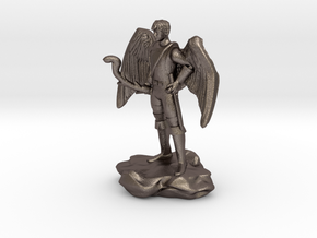 Winged Half-celestial with bow and sword in Polished Bronzed Silver Steel