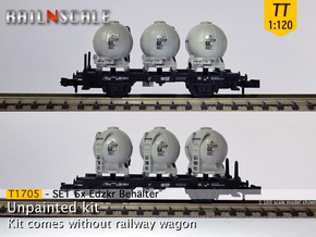 SET 6x Edzkr 571 Behälter (Tillig) (TT 1:120) in Smooth Fine Detail Plastic
