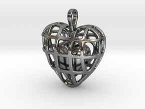 Touch Of The Heart Pendant in Polished Silver (Interlocking Parts)