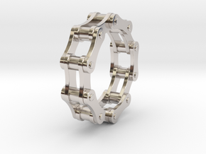 Violetta S. - Bicycle Chain Ring in Rhodium Plated Brass: 4 / 46.5