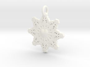 Heart Snowflake Keychain in White Processed Versatile Plastic