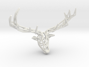 Untamed: The Deer Pendant in White Natural Versatile Plastic: Small