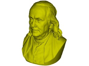 1/9 scale Benjamin Franklin bust in Smooth Fine Detail Plastic