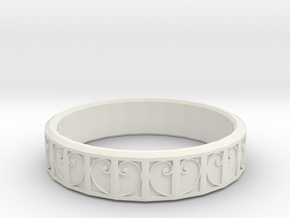 Fractal Curve Ring 18mm in White Natural Versatile Plastic