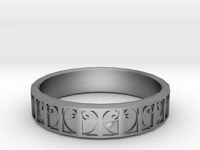 Fractal Curve Ring 18mm in Natural Silver