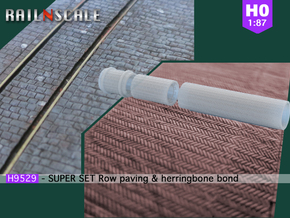 SUPER SET Row paving & herringbone bond rollers H0 in Smooth Fine Detail Plastic