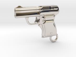 Schwarzlose Gun 1909 Keychain in Platinum