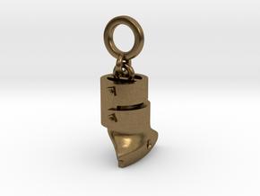 Ned Kelly Outlaw Helmet Bracelet Charm 5mm hanging in Natural Bronze (Interlocking Parts)
