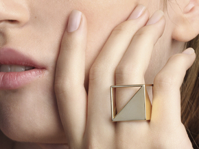 CUBE Nº 2 RING in 14k Gold Plated Brass: 8 / 56.75