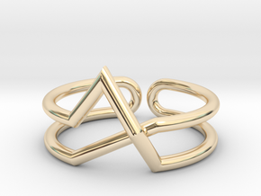 Continuous Geometric Ring  in 14k Gold Plated Brass: 6 / 51.5