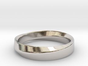 Mobius Wedding Size 5,5 in Rhodium Plated Brass