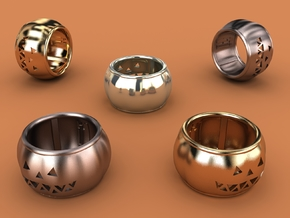 Pumpkin Ring 19mm in Polished Bronzed Silver Steel