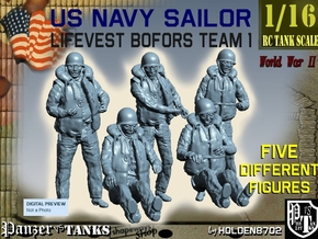 1-16 USN Sailor Lifevest Bofors TEAM 1 in White Natural Versatile Plastic